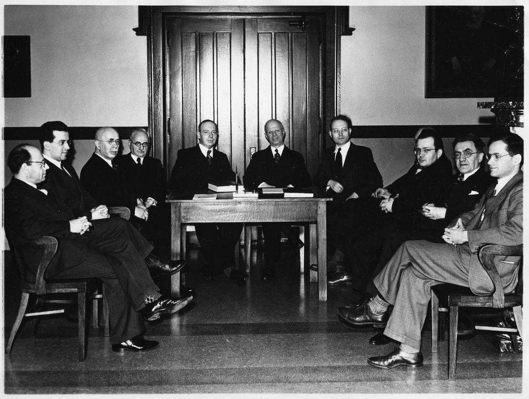 Scholars who had escaped Nazi-occupied Europe with the help of HUC. <br><br>Courtesy of The Jacob Rader Marcus Center of the American Jewish Archives, Cincinnati, Ohio.