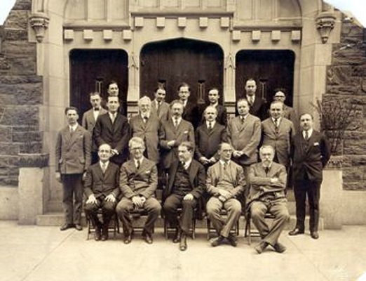 Rabbi Stephen Wise, who founded the Jewish Institute of Religion in 1922, is seated center here with his JIR faculty, 1927. <br><br>Courtesy of The Jacob Rader Marcus Center of the American Jewish Archives, Cincinnati, Ohio.