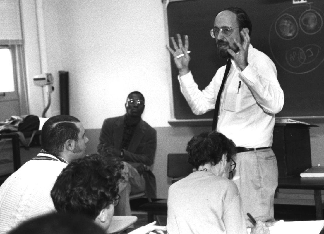Dr. Benny Kraut lecturing at UC. <br><br>Courtesy of The Jacob Rader Marcus Center of the American Jewish Archives, Cincinnati, Ohio.