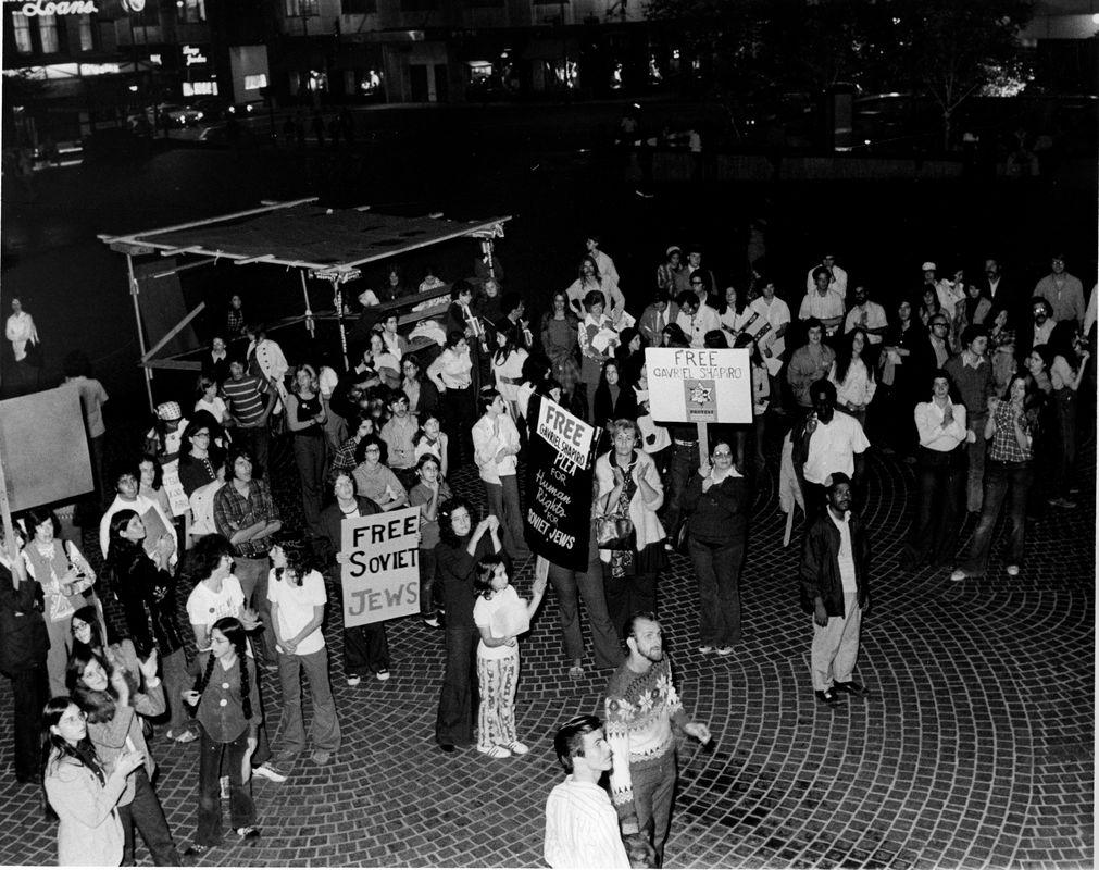 A rally on Fountain Square in support of Soviet Jews. <br><br>Courtesy of The Jacob Rader Marcus Center of the American Jewish Archives, Cincinnati, Ohio.